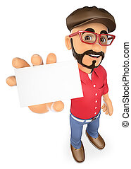 3D Film director showing a blank card