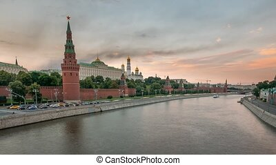 The view on the Kremlin, Moscow River with tourist boats and Kremlevskaya Embankment in the summer, 4k, Time Lapse.