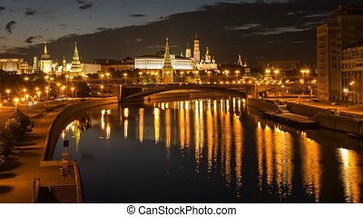 The view on the Kremlin, Moscow River and Kremlin's Embankment in the summer at night, 4k, Time Lapse.