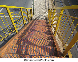 Steel stairs and railing - Yellow Steel stairs and railing...