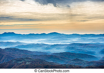 Beautiful blue mountains and hills Landscape at sunset time