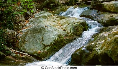 Fast Mountain River Flowing Among Stones - Tranquil scene of...