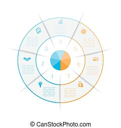 Ring from colored lines infographic seven number options