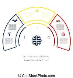 Semicircle template from infographic three number options -...