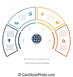 Semicircle template from infographic four number options -...