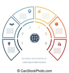 Semicircle template from infographic six number options