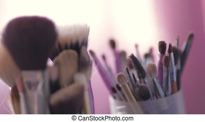 Cosmetic brushes close up. Wedding preparation.