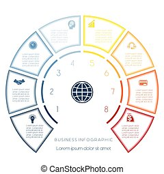 Semicircle template from infographic eight number options -...