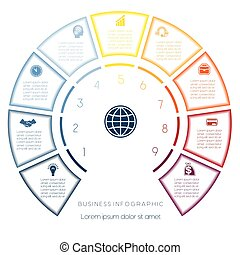 Semicircle template from infographic nine number options -...