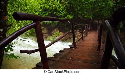 Tourist Walking On Wooden Bridge Over River