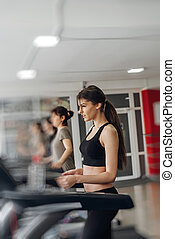 Beautiful girl on a treadmill - Beautiful group of young...