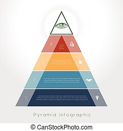 Template Infographic pyramid for four text area - Template...