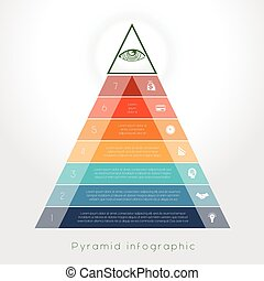 Template Infographic pyramid for seven text area - Template...