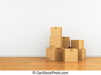 Cardboard box in an empty apartment. The concept of moving...