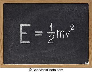 cinético, energía, ecuación, pizarra