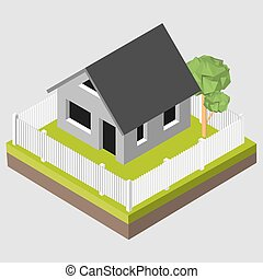 Isometric 3D icon Pictograms house with a white fence and...