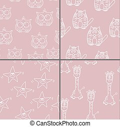 Set Funny Seamless pattern with cat, giraffe, owls Baby...