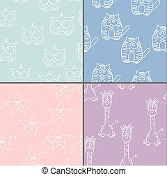 Set Funny Seamless pattern with cat, giraffe, owls. Baby...