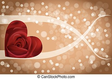 Abstract rose heart background - heart-shaped rose,...