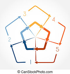 Template Infographic illustration five positions - Template...