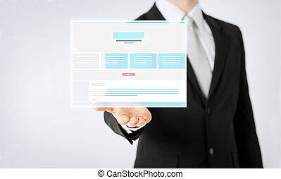 close up of businessman showing web page design - people and...