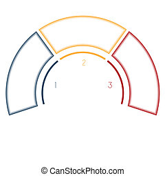Infographics Semicircle for three number options - Numbered...