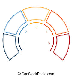 Infographics Semicircle for five number options - Numbered...