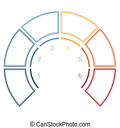 Infographics Semicircle for six number options - Numbered...