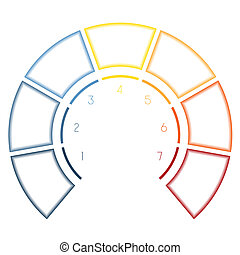 Infographics Semicircle for seven number options - Numbered...