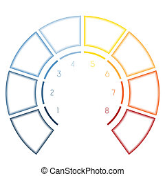 Infographics Semicircle for eight number options - Numbered...