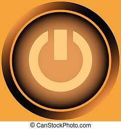 Icon orange sign switching off - Icon of orange color with a...