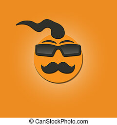 Funny face with a mustache