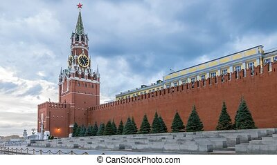 Red Square, Saviour Tower and Kremlin wall in Moscow  4k, Time Lapse.