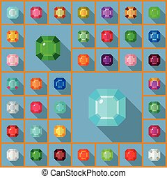 Vector gems asscher - Vector gems icons set. Flat vector...