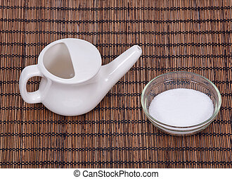 Ceramic neti pot and sea salt