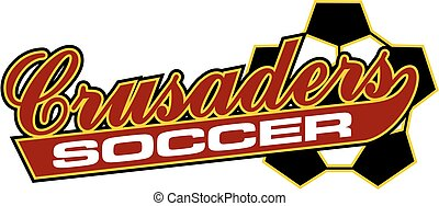 crusaders soccer team design in script with tail for school,...