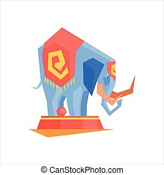 Circus Trained Elephant Graphic Flat Vector Design Isolated...