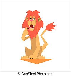Circus Trained Lion Graphic Flat Vector Design Isolated...