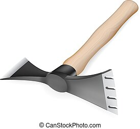 Axe-hoe with wooden handle - Axe hoe with wooden handle on...