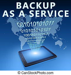 Backup as a Service illustration with tablet computer on...