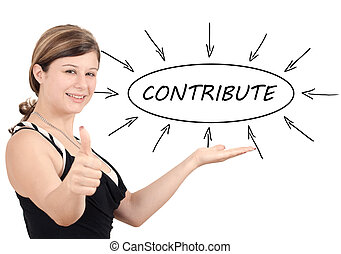 Contribute - young businesswoman introduce process...