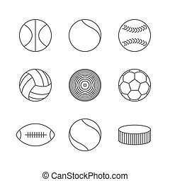 Icons balls, vector - Gray icons of various sports balls of...