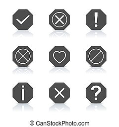 Set of icons and signs, vector - Set of icons and signs,...