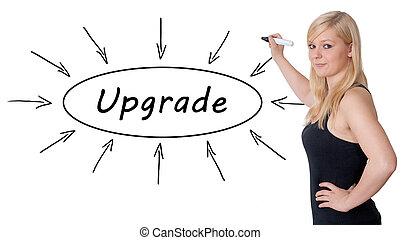 Upgrade - young businesswoman drawing information concept on...