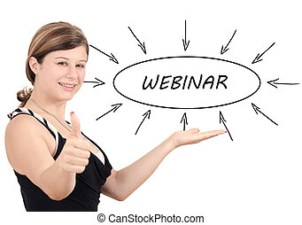 Webinar - young businesswoman introduce process information...