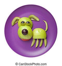 feliz, perro, hecho, de, manzana, en, púrpura, placa,...