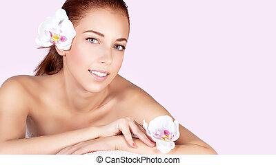 Girl enjoying day spa