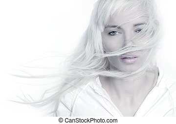 beautiful blonde girl fashion wind long hair over white