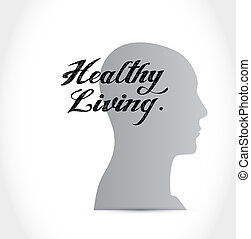 healthy living brain sign concept illustration design...