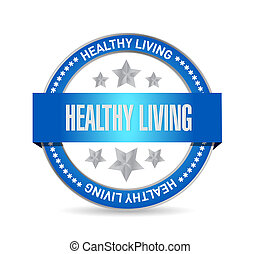 healthy living seal sign concept illustration design graphic